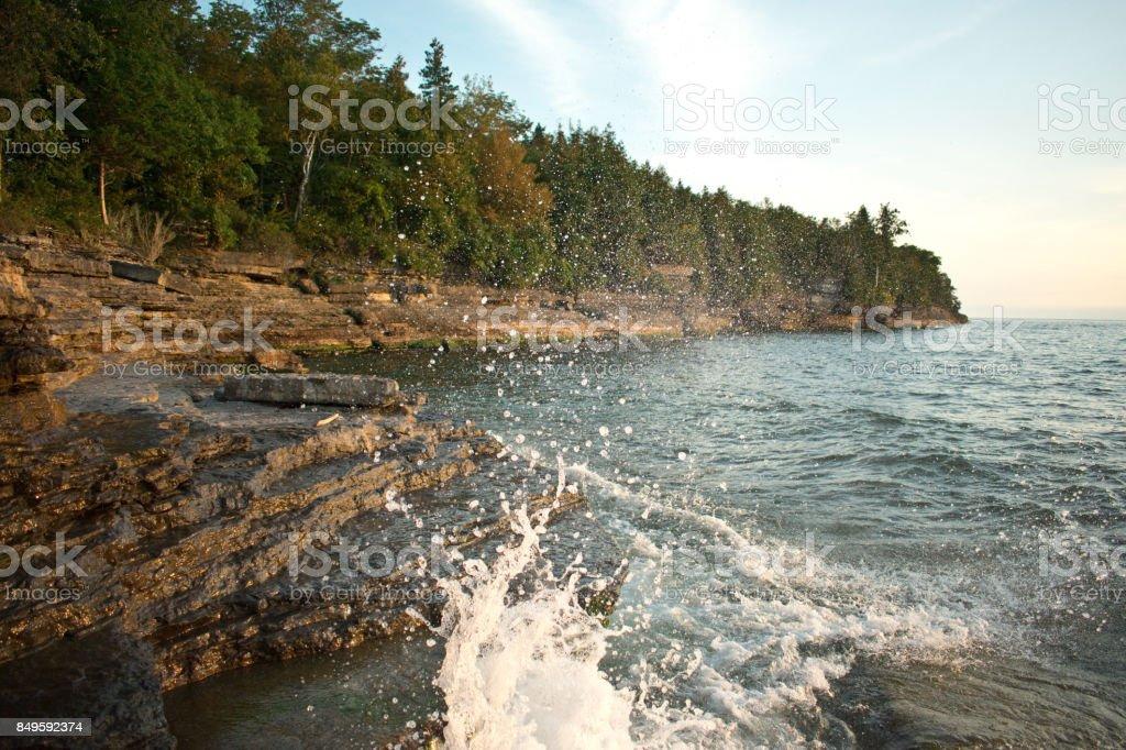 Splash in Lake Ontario stock photo
