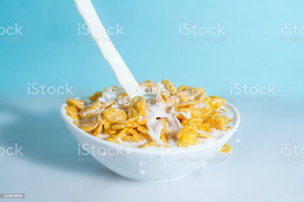splash milk in bowl with yellow cornflakes stock photo
