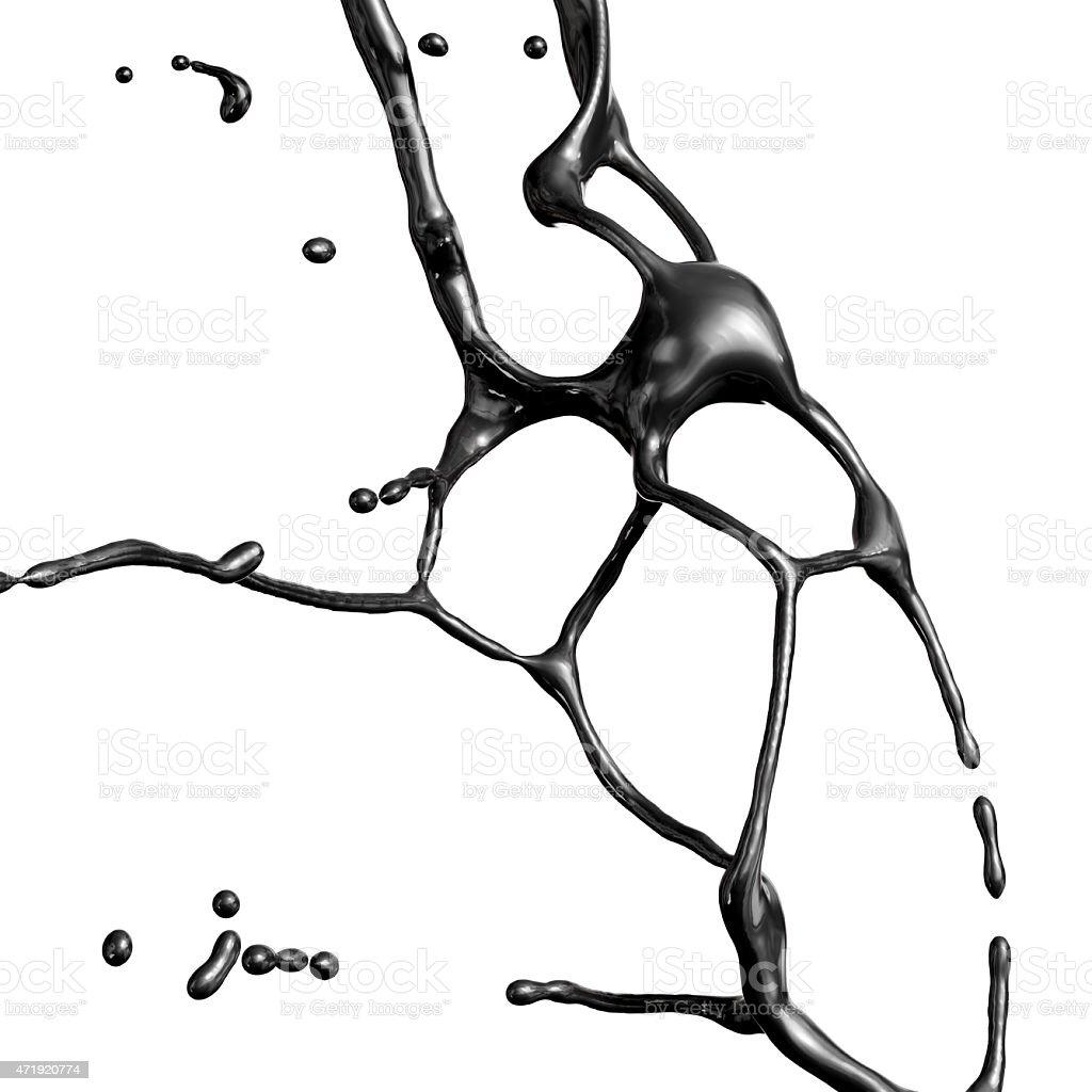 Splash of black fuel oil isolated on white background stock photo