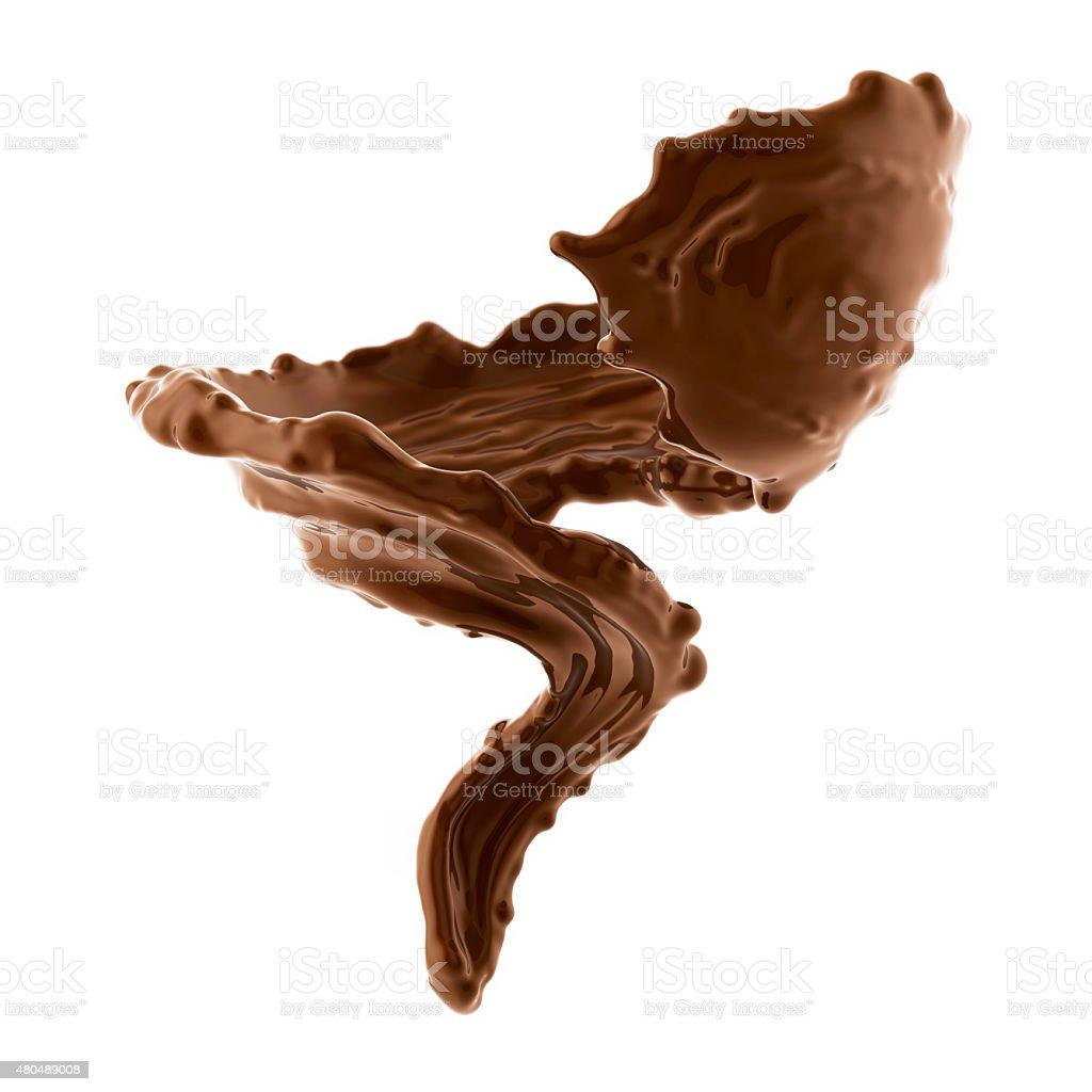 splash of brownish hot coffee or chocolate stock photo