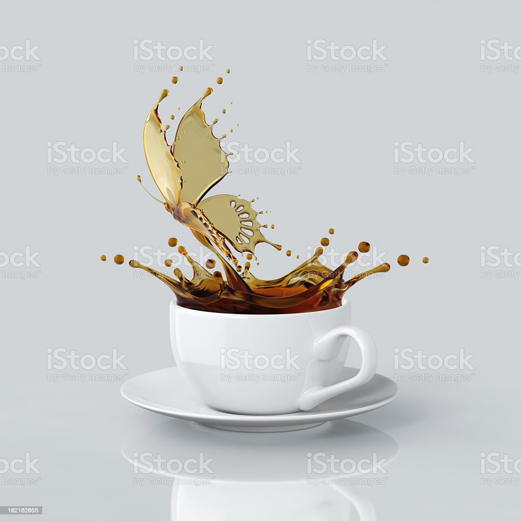 Splash Of Coffee Butterfly In The Cup stock photo