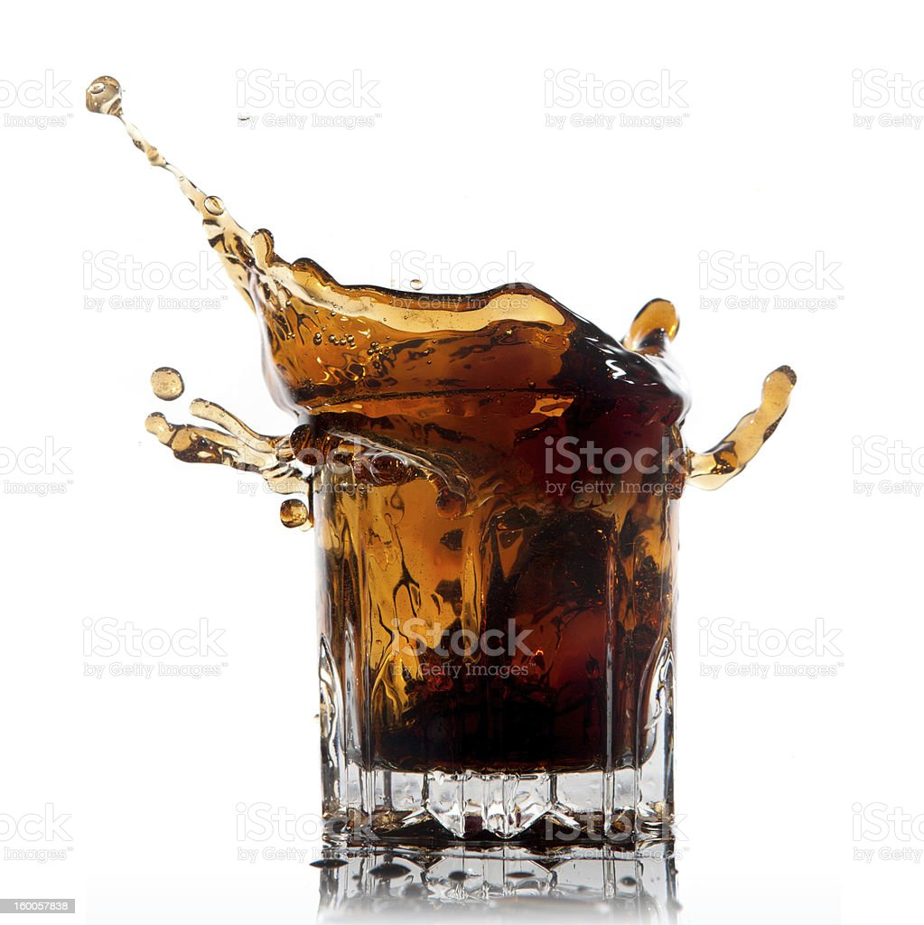 splash of cola in glass isolated on white royalty-free stock photo