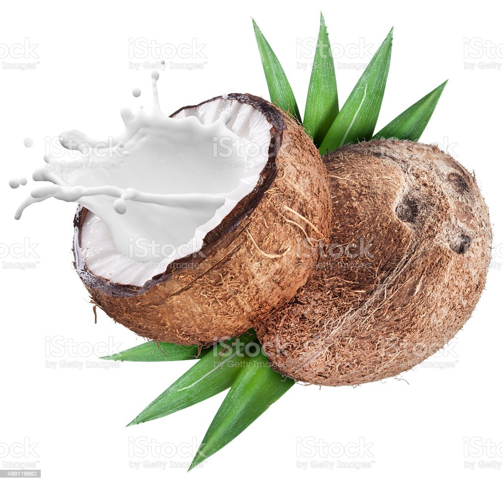 Splash of milk from opened coconut. stock photo