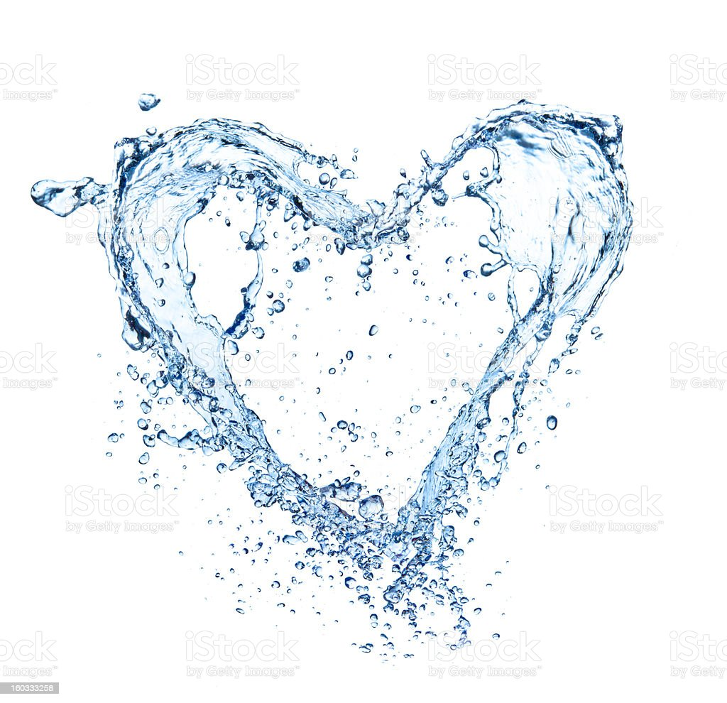 A splash of water shaped like a love heatt stock photo