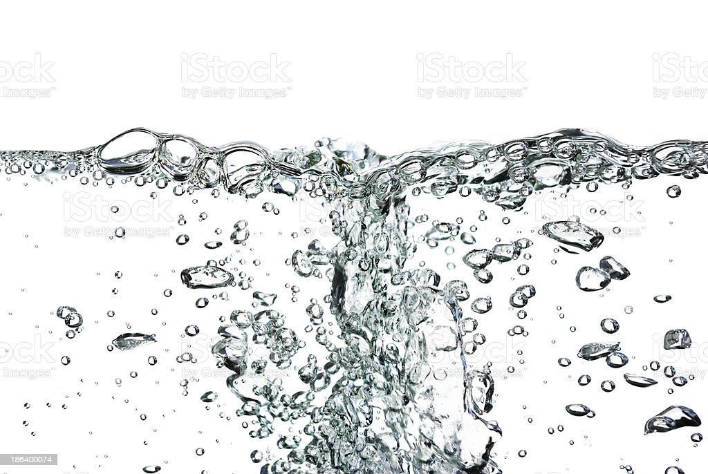Splash of water,drops and bubbles on a white background. stock photo