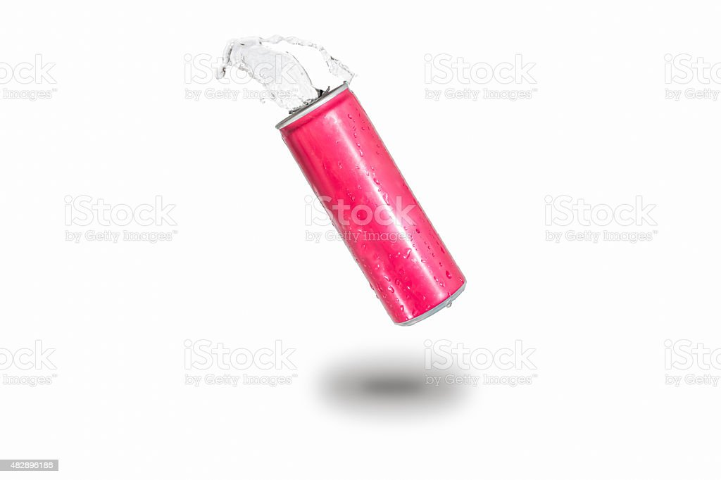 splashed water on canned,isolated. stock photo