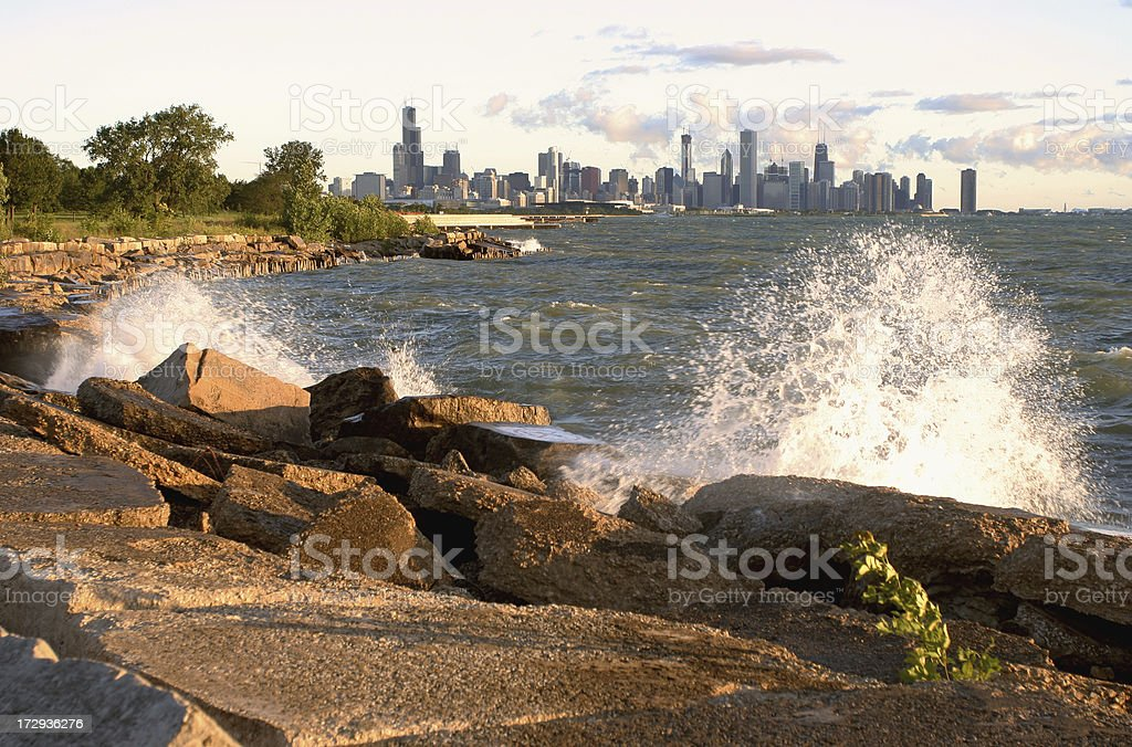 Splashes along Lake Michigan stock photo