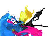 Splashes of blue, black, pink, and yellow paint