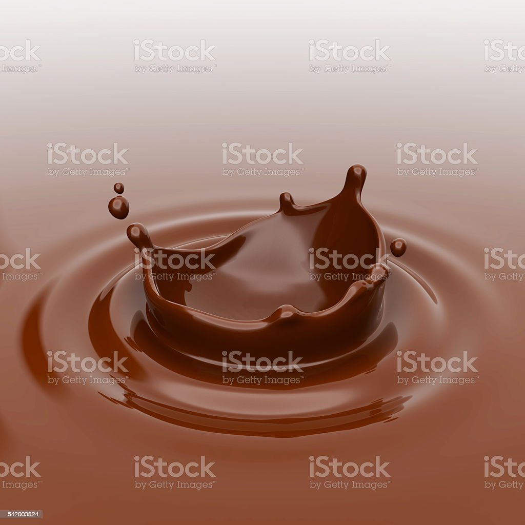 Splashes of chocolate. 3D rendering. royalty-free stock photo