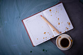 Splashes of coffee on the opened notebook.