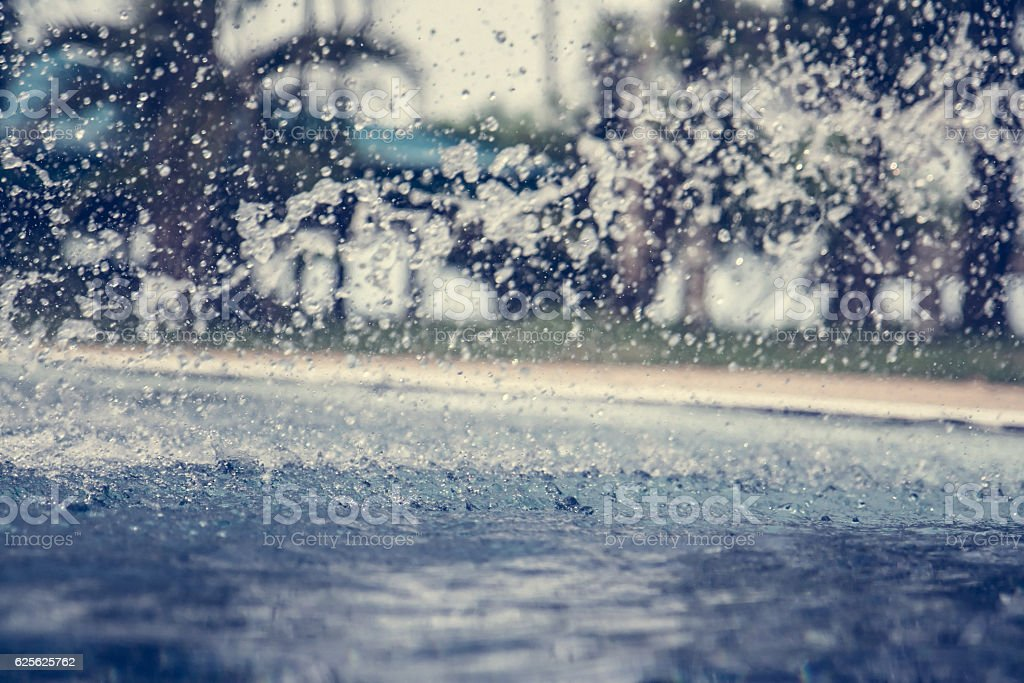 Splashing blurred and defocused swimming pool background with palm trees stock photo