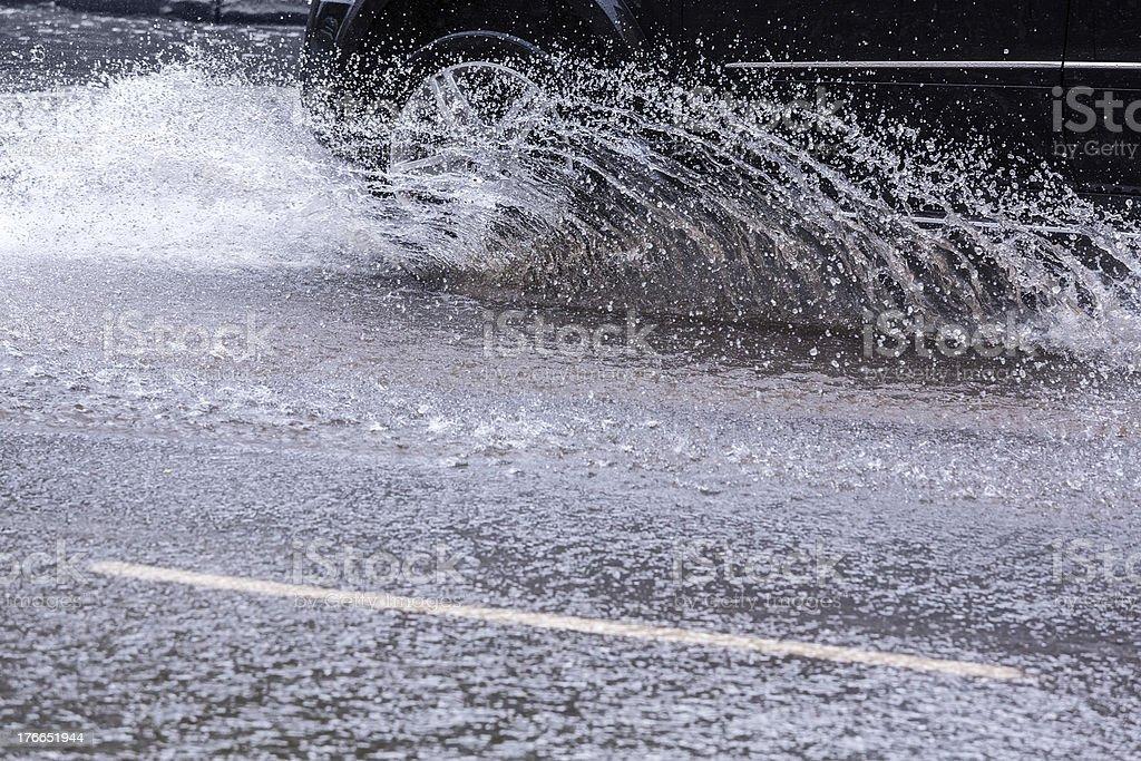 Splashing car royalty-free stock photo