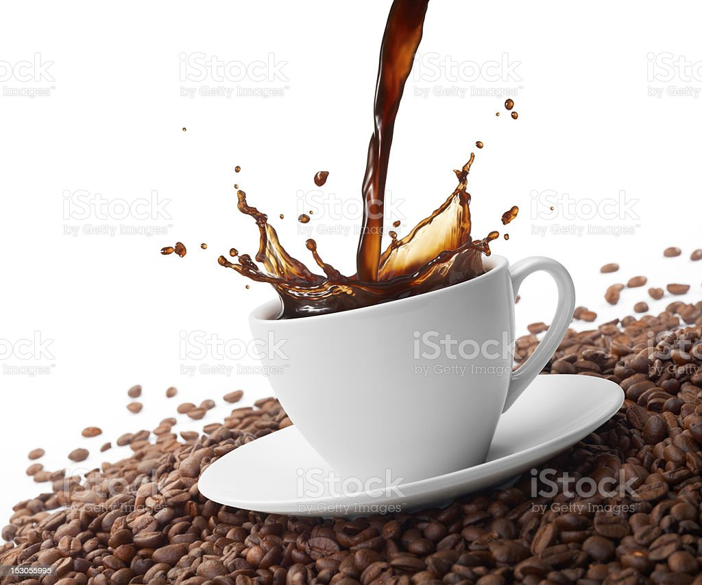 splashing coffee royalty-free stock photo
