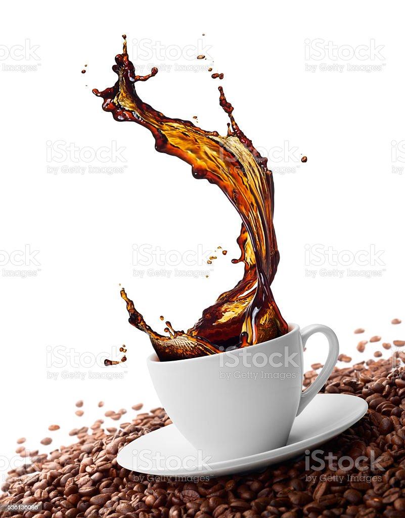 splashing coffee stock photo