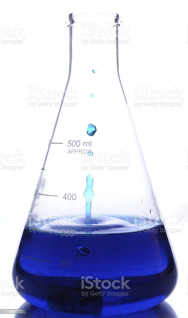 Splashing Droplets and Bubbling Reaction in Flask royalty-free stock photo