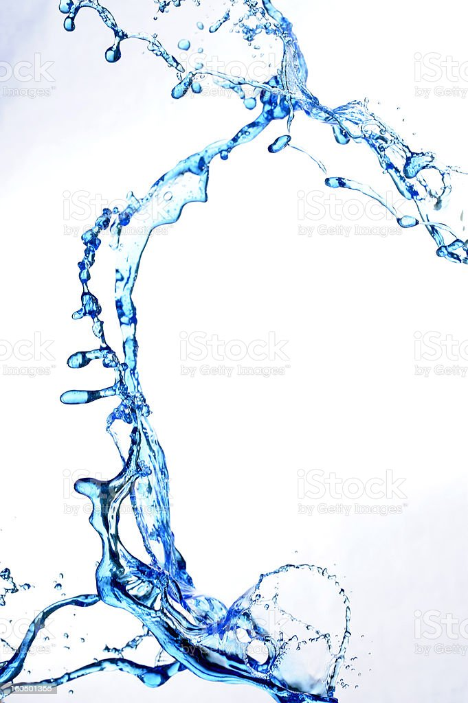 Splashing fresh blue water stock photo