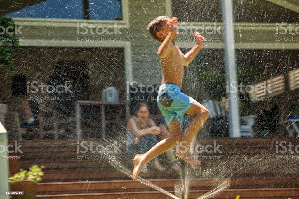 splashing in joy stock photo