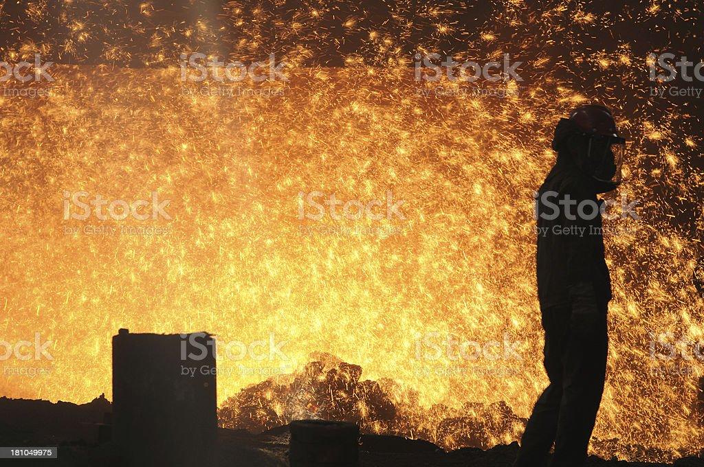 Splashing of hot metal royalty-free stock photo