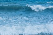 Splashing waves on the sea