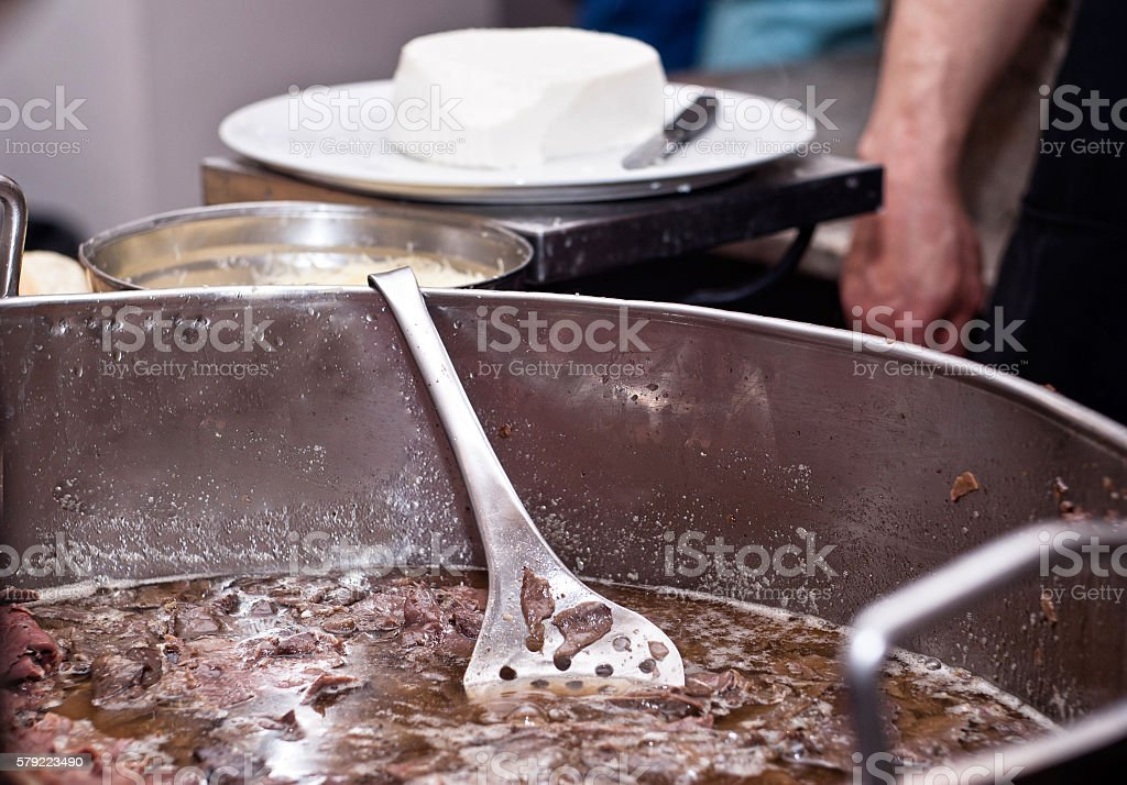spleen cooking at Palermo stock photo
