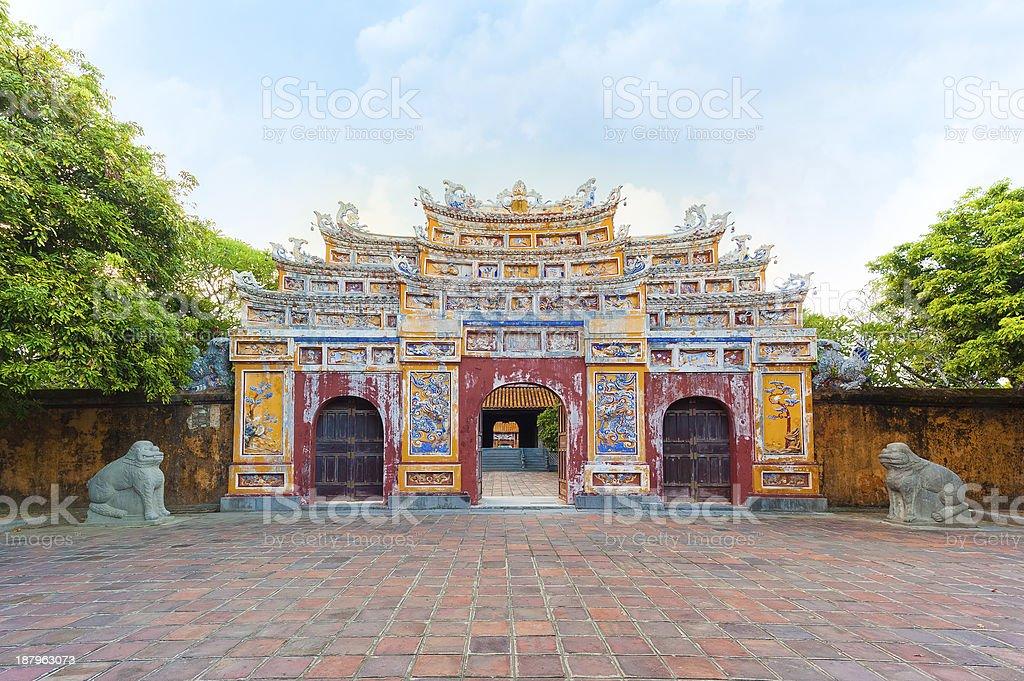 Splendour Gate in Citadel, Imperial City of Hue stock photo