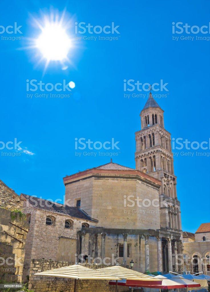 Split ancient cathedral verical view, UNESCO world heritage site, Dalmatia, Croatia stock photo