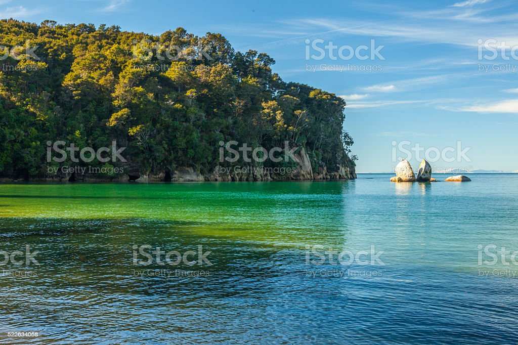 Split Apple Rock in Abel Tasman National Park stock photo