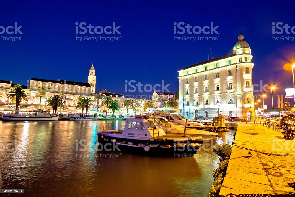 Split architecture evening seafront view stock photo