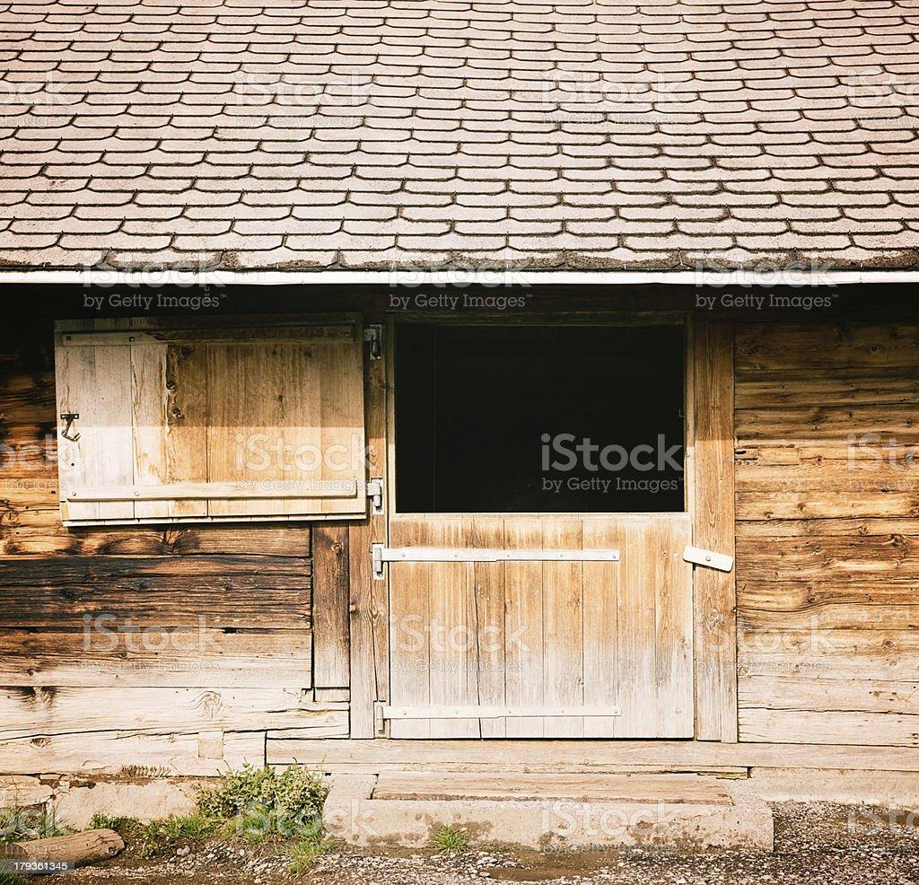 ... Split Barn Door Under Tiled Roof Stock Photo ...