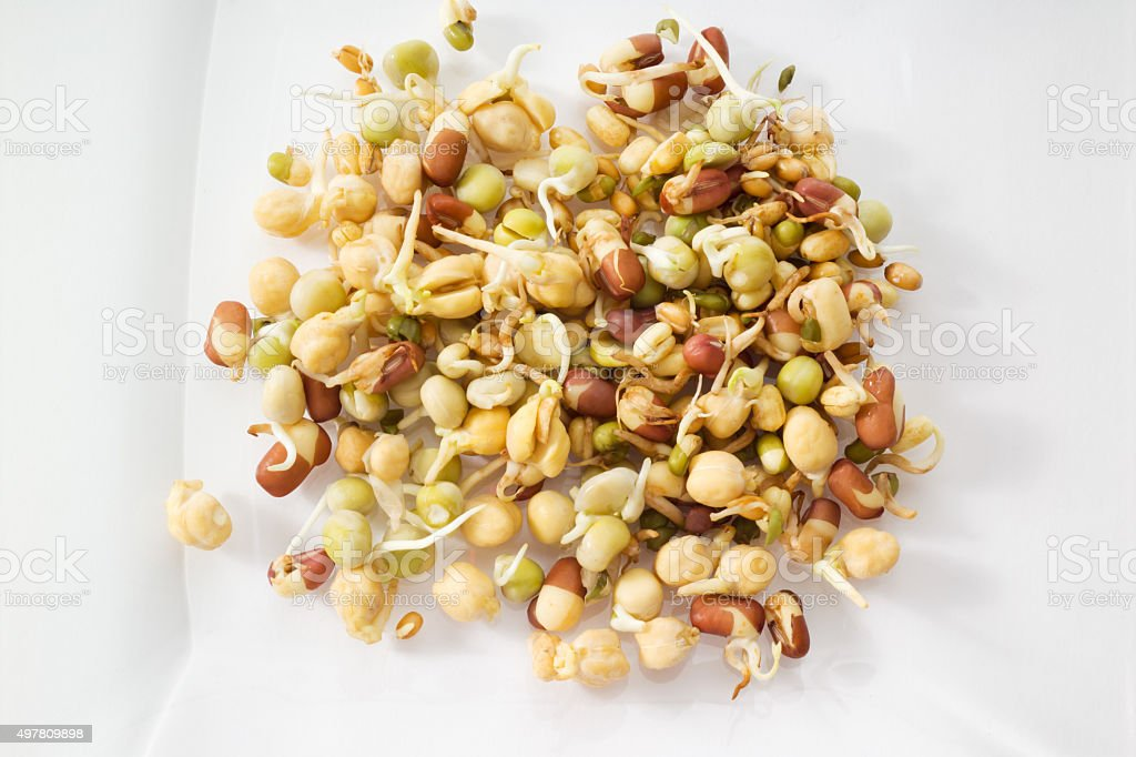 Split beans, adzuki beans, wheat and chick peas stock photo