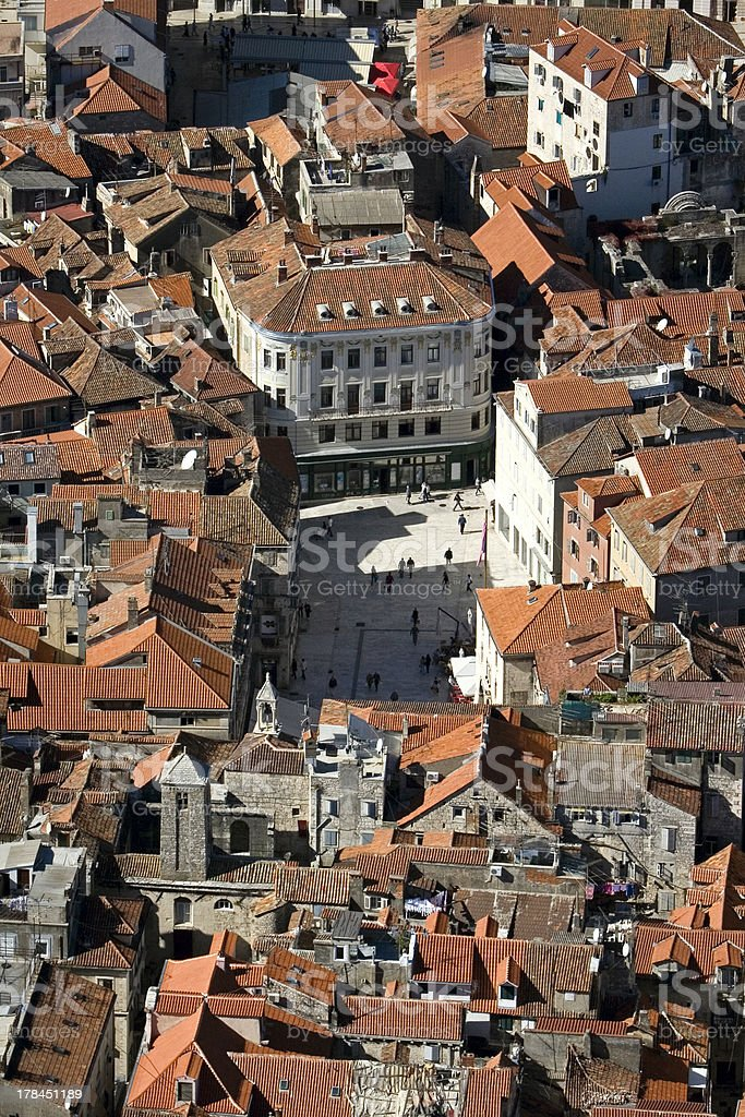 Split, Croatia, aerial view of People's square stock photo