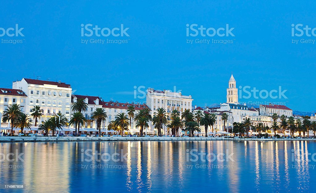 Split, Croatia At Night stock photo