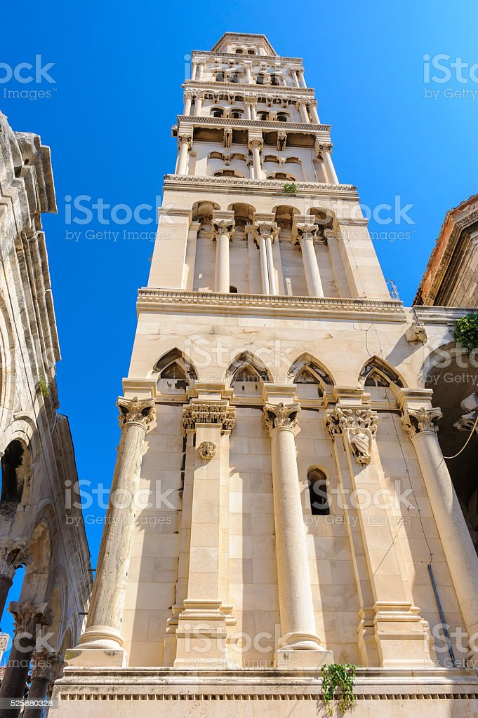 Split, Croatia bell tower stock photo