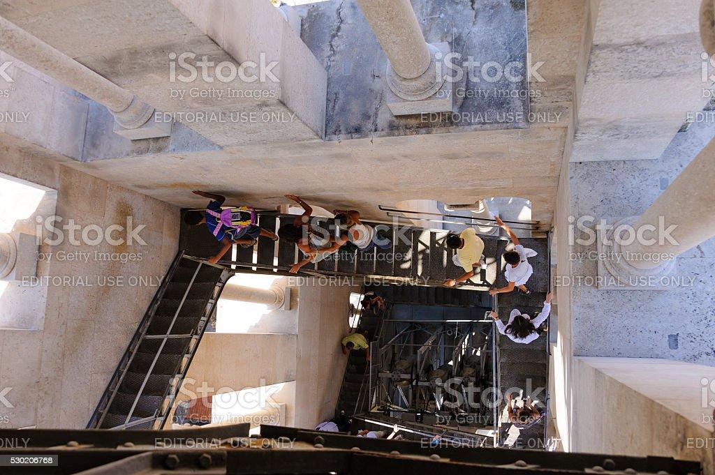 Split, Croatia bell tower staircase stock photo