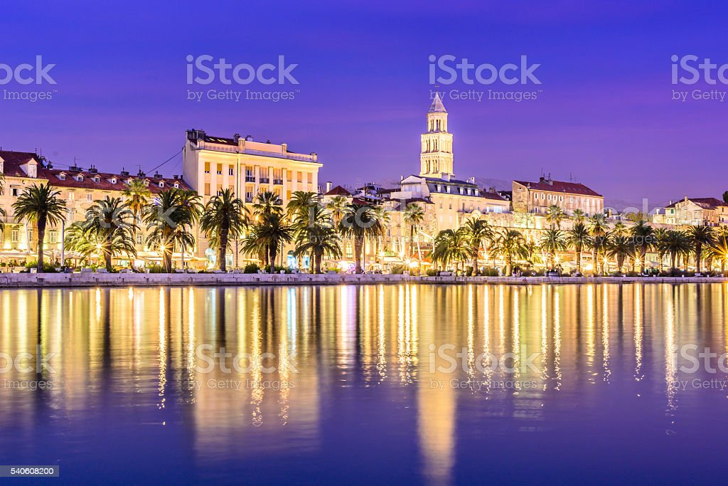 Split Croatia cityscape blue hour stock photo