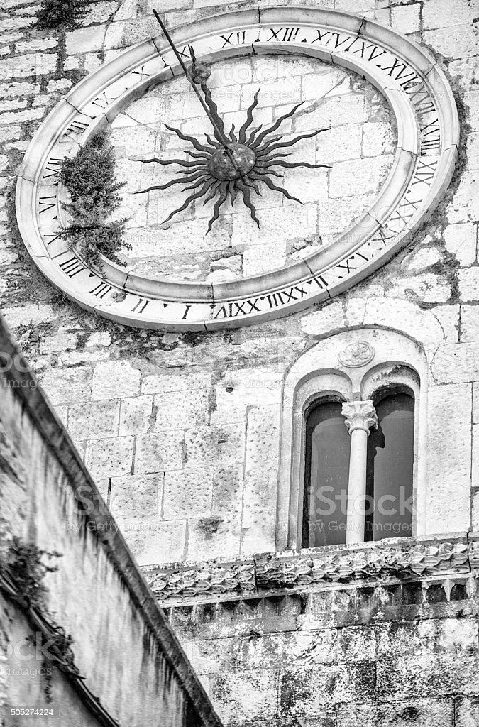 Split (Croatia) downtown - medieval town clock stock photo