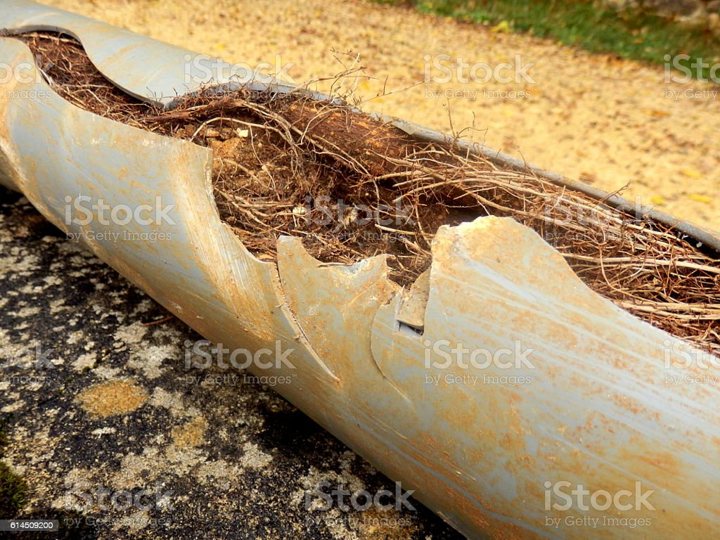 Split drainage pipe stock photo