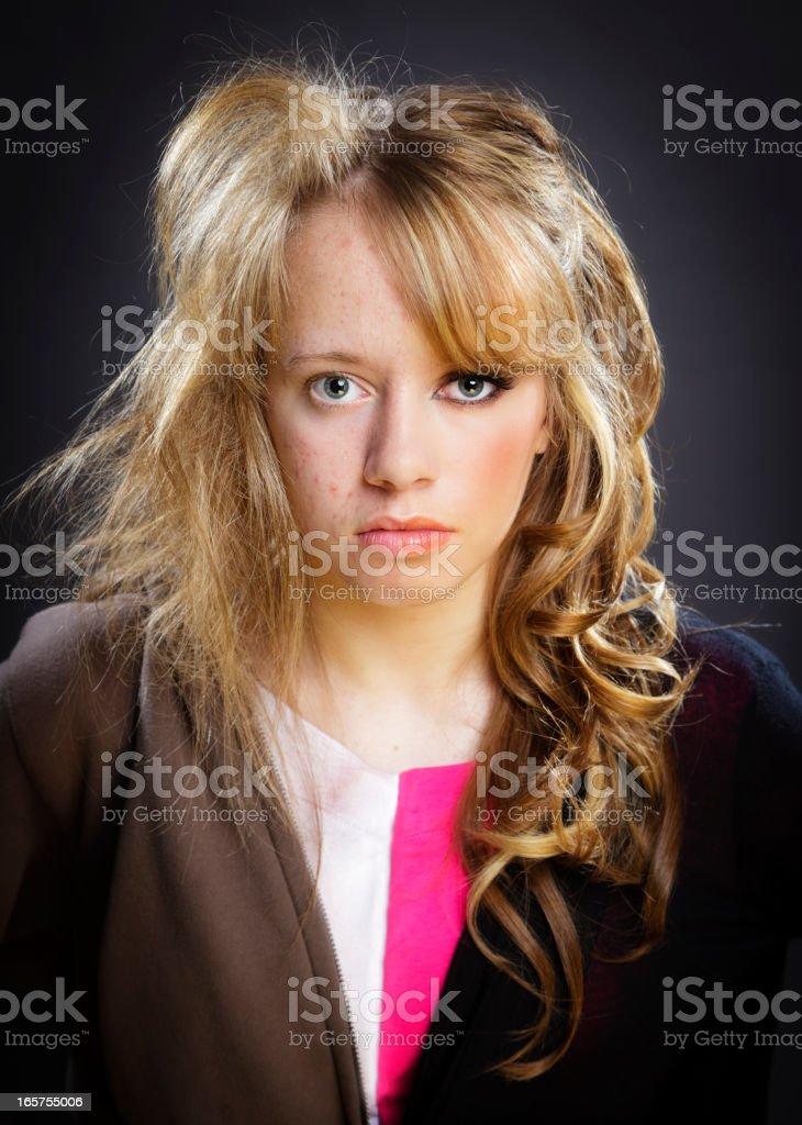 Split Faced Teenage Girl stock photo
