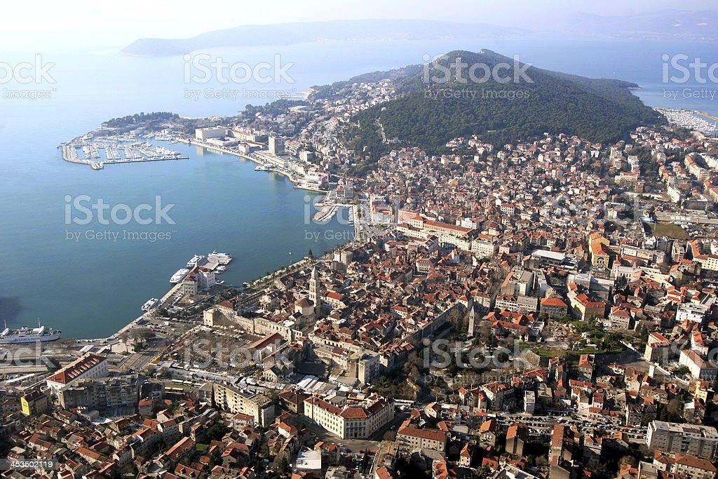 Split in Croatia, aerial view stock photo