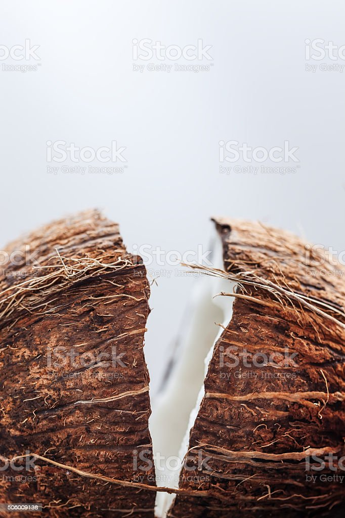 Split into two parts coconut stock photo
