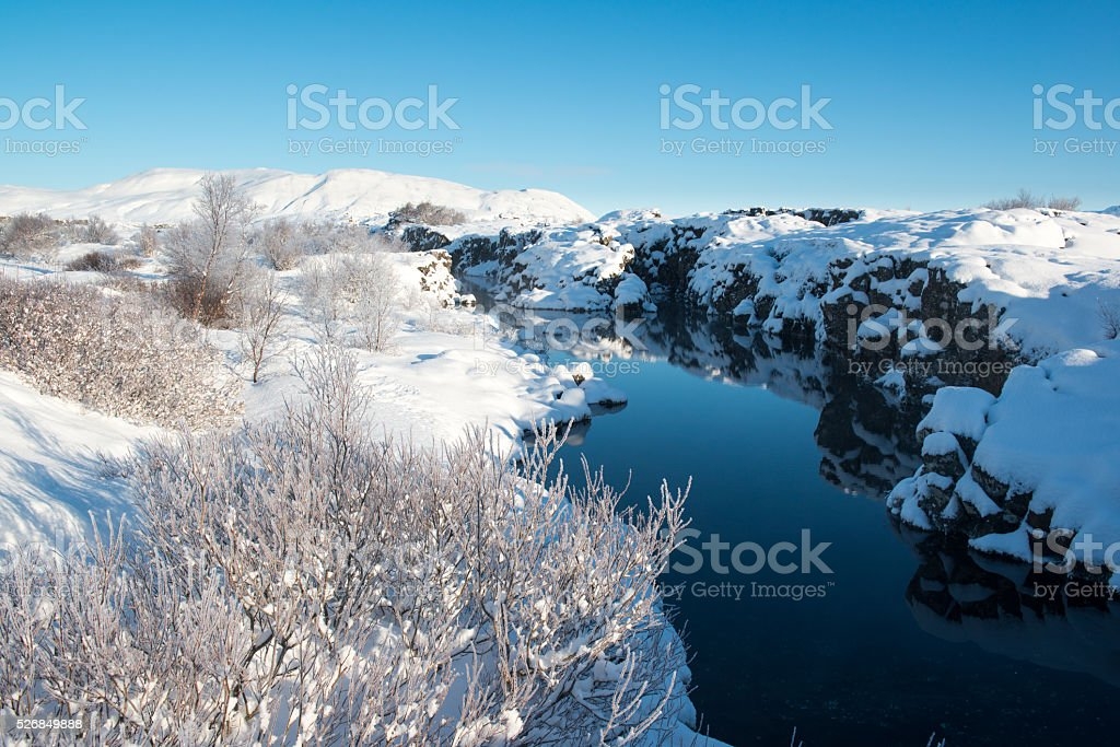 Split of continental plates, Thingvellir National Park in winter, Iceland stock photo