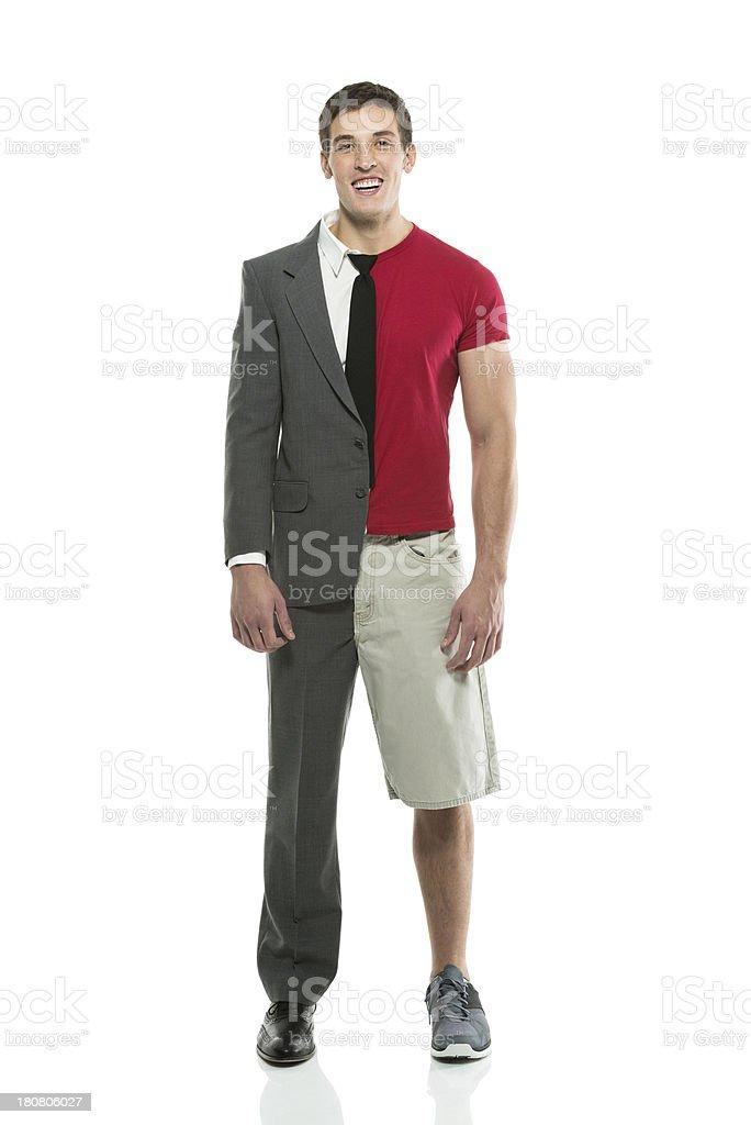 Split person: Sportsman & businessman stock photo