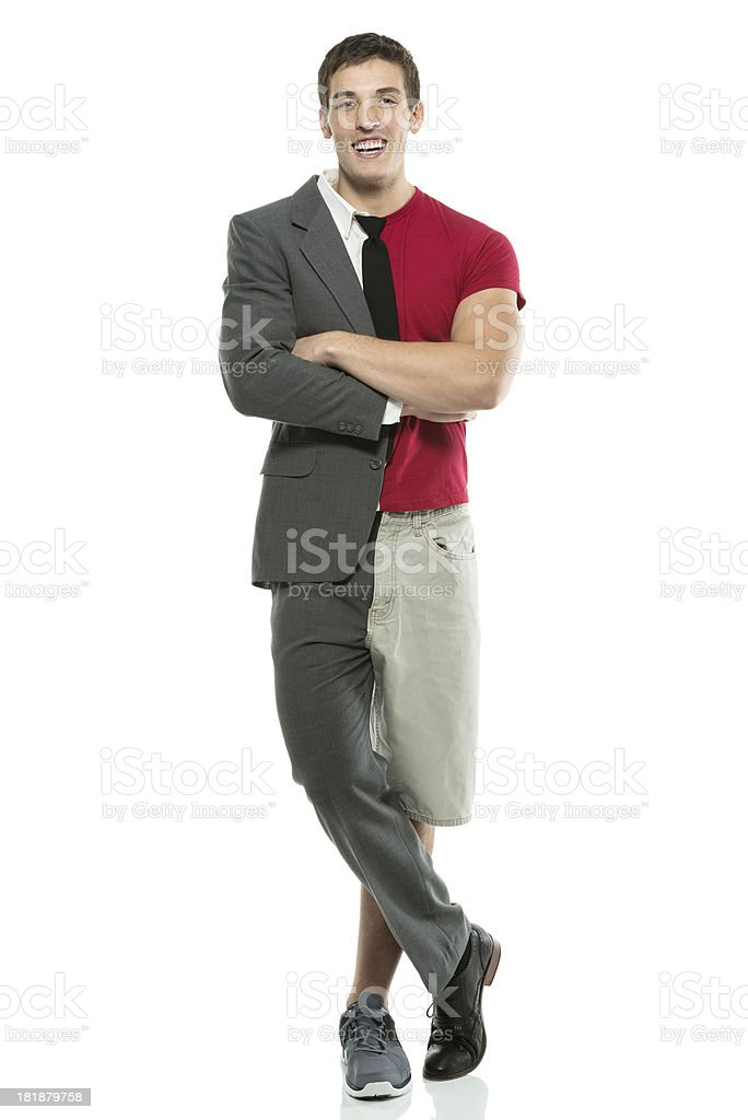 Split person: Sportsman & businessman stock photo