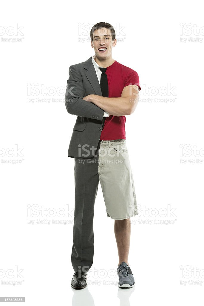 Split personality man with arms crossed stock photo