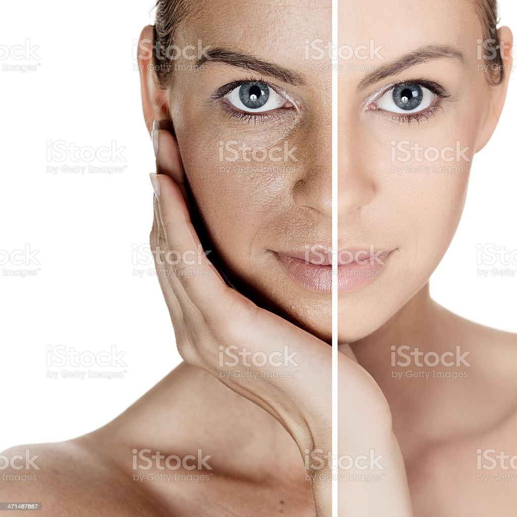 Split portrait of woman with and without makeup stock photo
