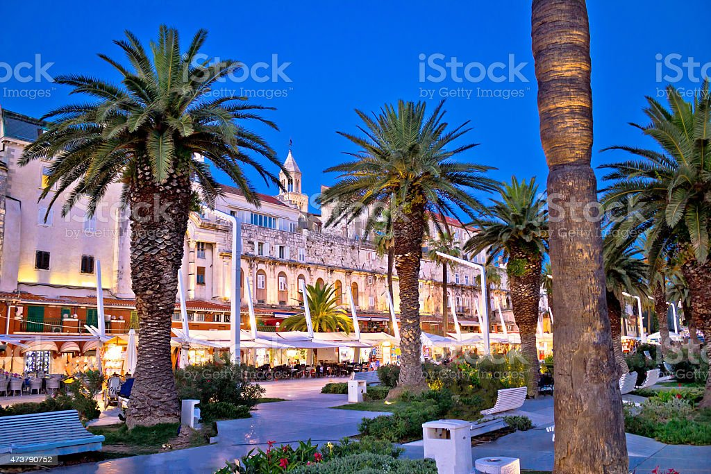 Split Riva waterfront walkway evening view stock photo