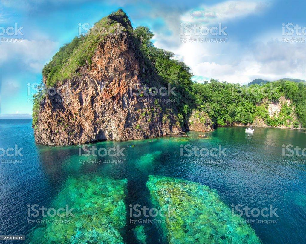 Split Rock, Dominica stock photo