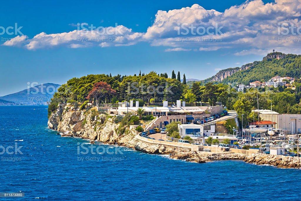Split rocky coast summer view stock photo