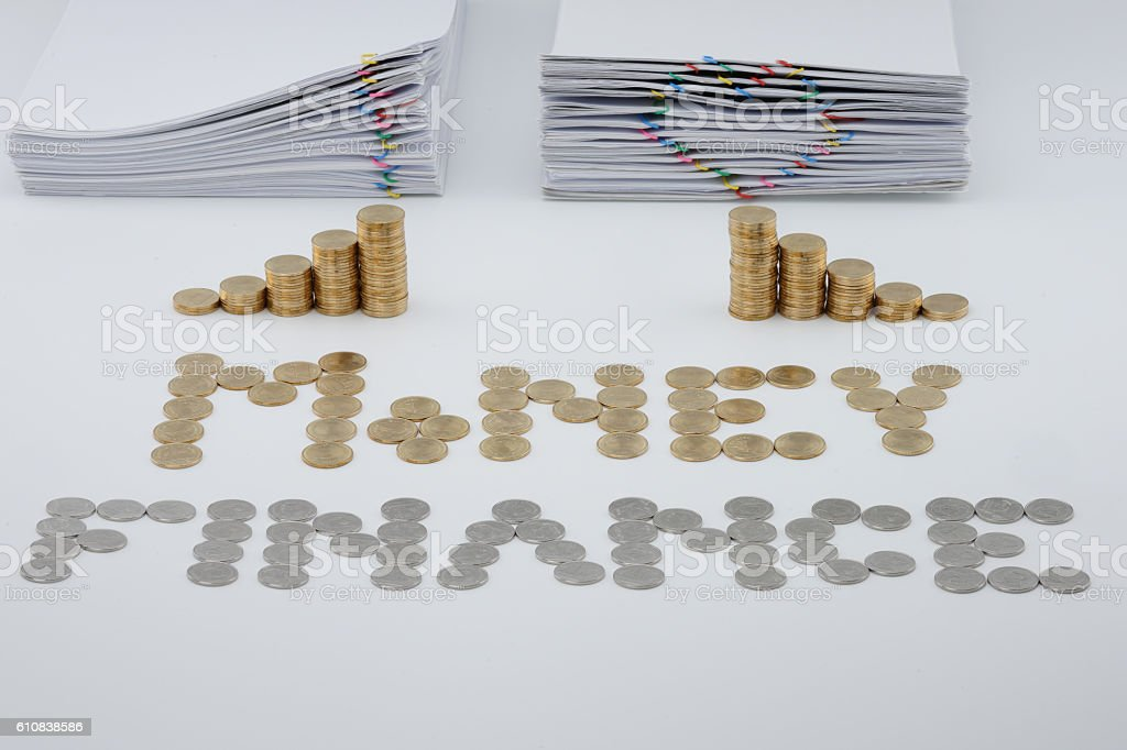 Split step pile of gold coins and pile overload document royalty-free stock photo