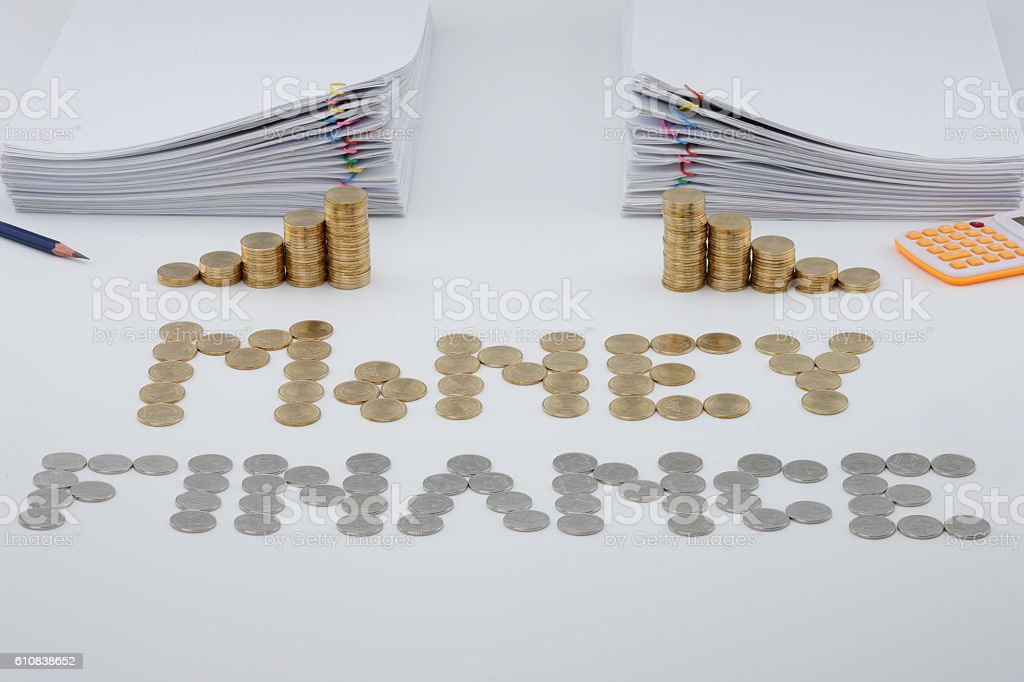 Split step pile of gold coins and pile overload paperwork royalty-free stock photo
